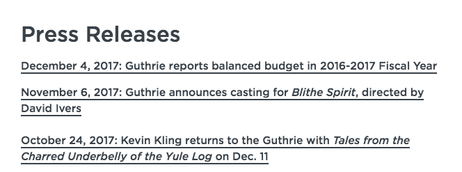 List of Guthrie Theater's Press Release Titles